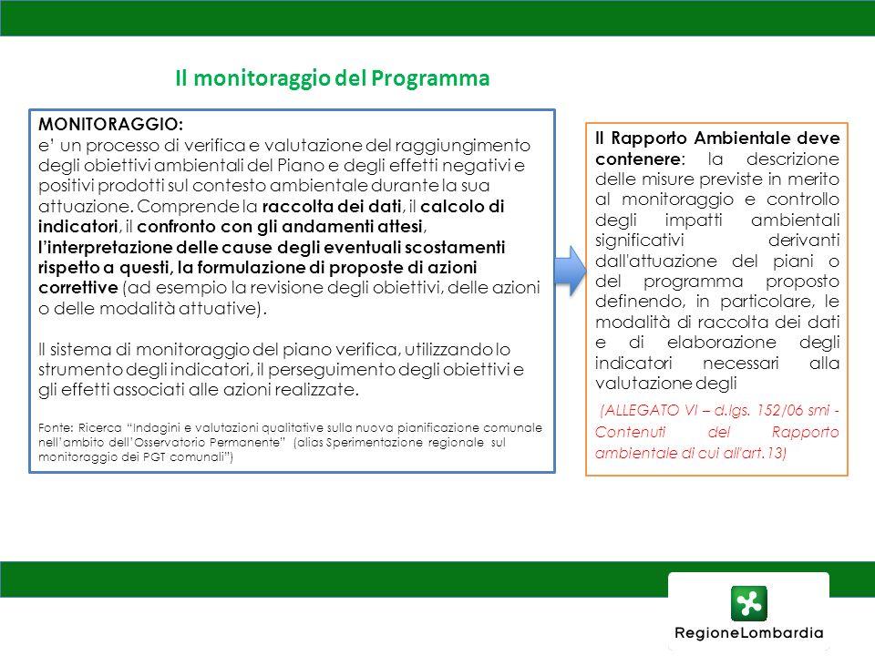 Il monitoraggio del Programma MONITORAGGIO: e un processo di verifica e valutazione del raggiungimento degli obiettivi ambientali del Piano e degli ef