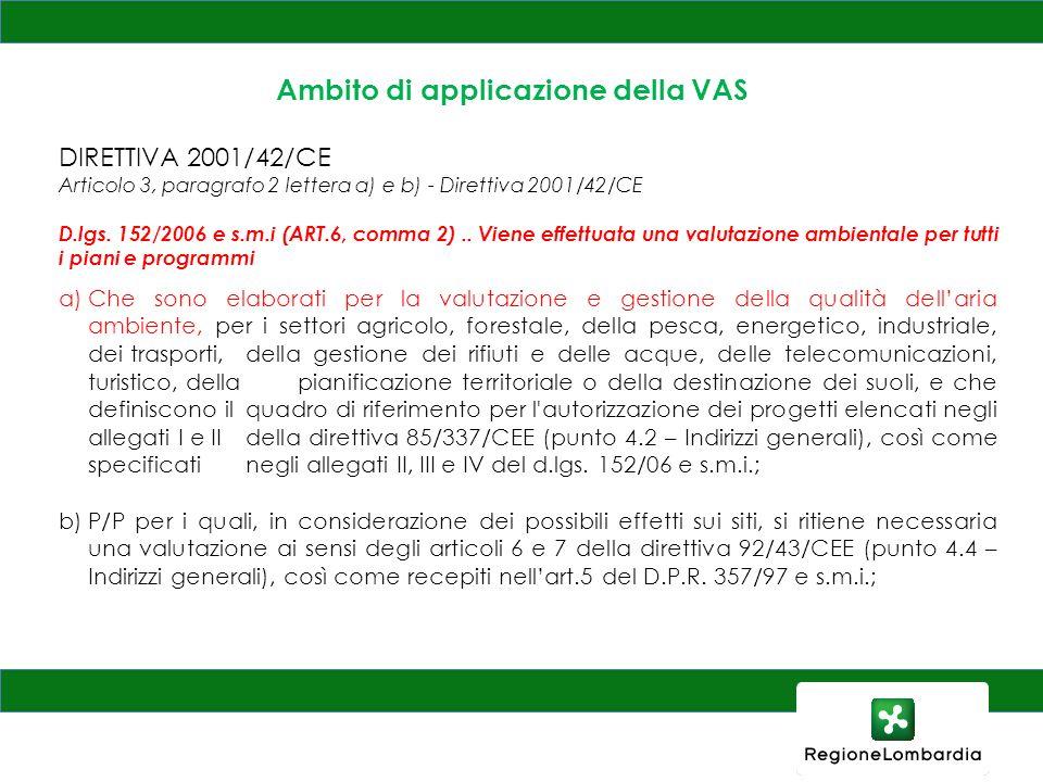 Ambito di applicazione della VAS DIRETTIVA 2001/42/CE Articolo 3, paragrafo 2 lettera a) e b) - Direttiva 2001/42/CE D.lgs. 152/2006 e s.m.i (ART.6, c