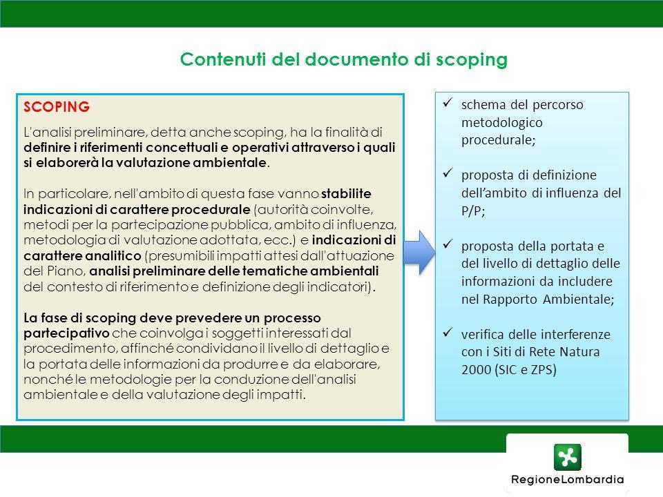 Contenuti del documento di scoping SCOPING L'analisi preliminare, detta anche scoping, ha la finalità di definire i riferimenti concettuali e operativ
