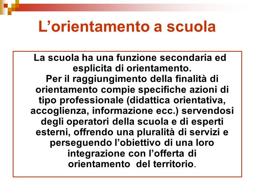 Lorientamento a scuola La scuola ha una funzione secondaria ed esplicita di orientamento.