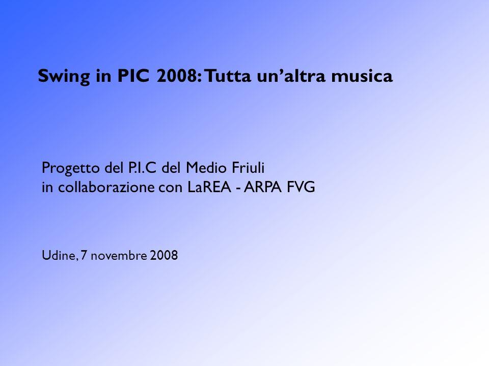 Swing in PIC 2008: Tutta unaltra musica Progetto del P.I.C del Medio Friuli in collaborazione con LaREA - ARPA FVG Udine, 7 novembre 2008
