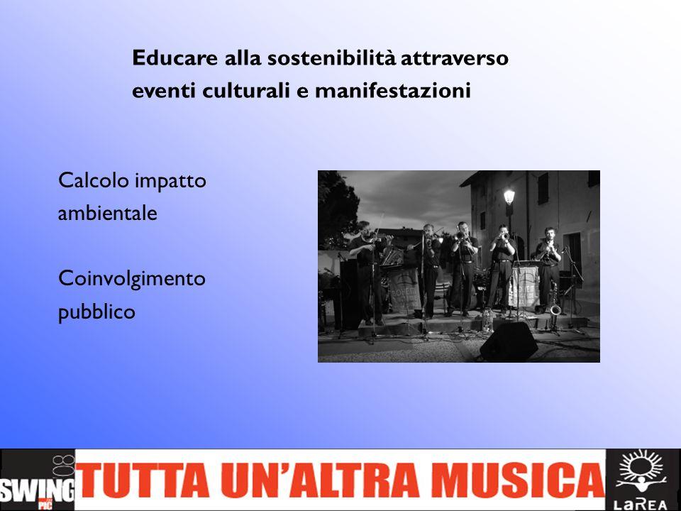 Calcolo impatto ambientale Coinvolgimento pubblico Educare alla sostenibilità attraverso eventi culturali e manifestazioni