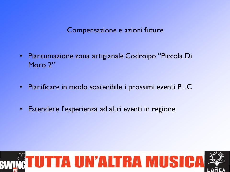 Compensazione e azioni future Piantumazione zona artigianale Codroipo Piccola Di Moro 2 Pianificare in modo sostenibile i prossimi eventi P.I.C Estend