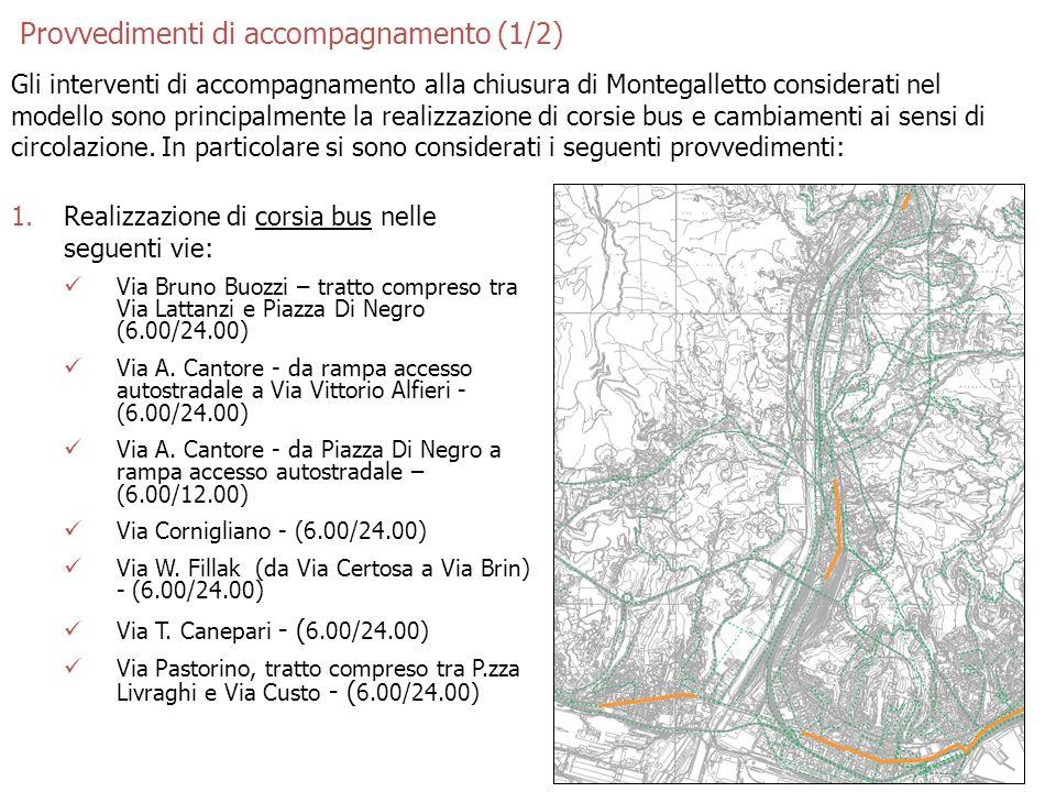 4 Provvedimenti di accompagnamento (1/2) Gli interventi di accompagnamento alla chiusura di Montegalletto considerati nel modello sono principalmente la realizzazione di corsie bus e cambiamenti ai sensi di circolazione.