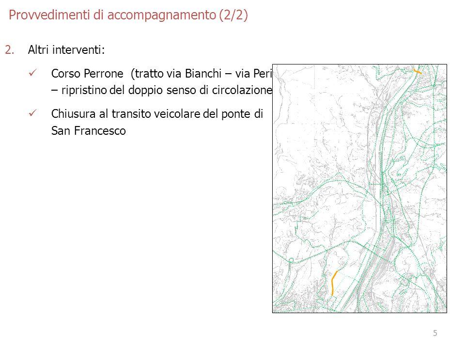 5 Provvedimenti di accompagnamento (2/2) 2.Altri interventi: Corso Perrone (tratto via Bianchi – via Perini) – ripristino del doppio senso di circolazione.