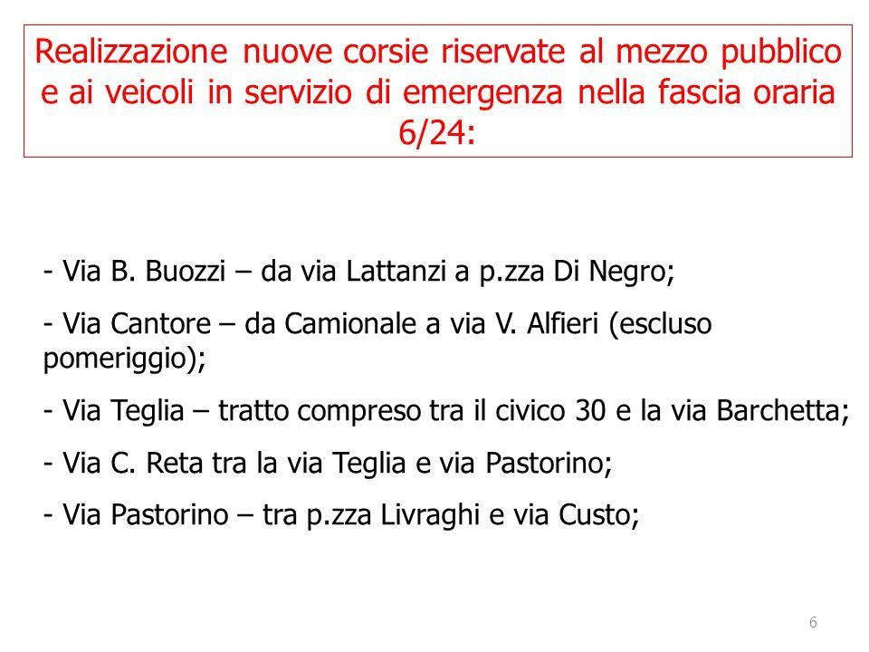 6 - Via B. Buozzi – da via Lattanzi a p.zza Di Negro; - Via Cantore – da Camionale a via V. Alfieri (escluso pomeriggio); - Via Teglia – tratto compre