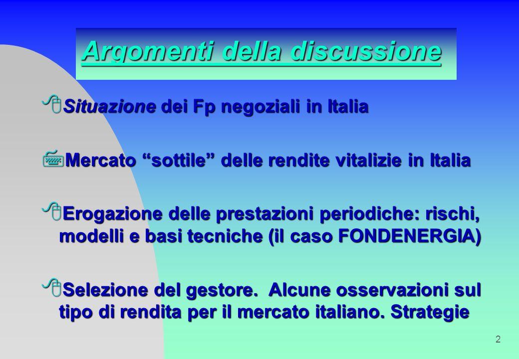 2 Argomenti della discussione 8 Situazione dei Fp negoziali in Italia 7 Mercato sottile delle rendite vitalizie in Italia 8 Erogazione delle prestazioni periodiche: rischi, modelli e basi tecniche (il caso FONDENERGIA) 8 Selezione del gestore.