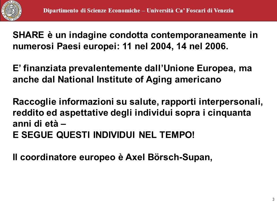 3 Dipartimento di Scienze Economiche – Università Ca Foscari di Venezia SHARE è un indagine condotta contemporaneamente in numerosi Paesi europei: 11 nel 2004, 14 nel 2006.