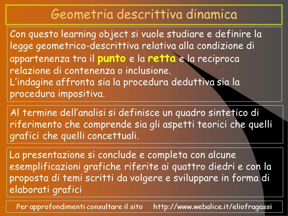 Esemplificazioni grafiche nei quattro diedri Seguono alcune esemplificazioni grafiche delle condizioni di appartenenza e/o contenenza nei diversi diedri tra rette e punti di diversa tipologia geometrica e collocazione grafica nello spazio (Fig.09, Fig.10, Fig.11, Fig.12).