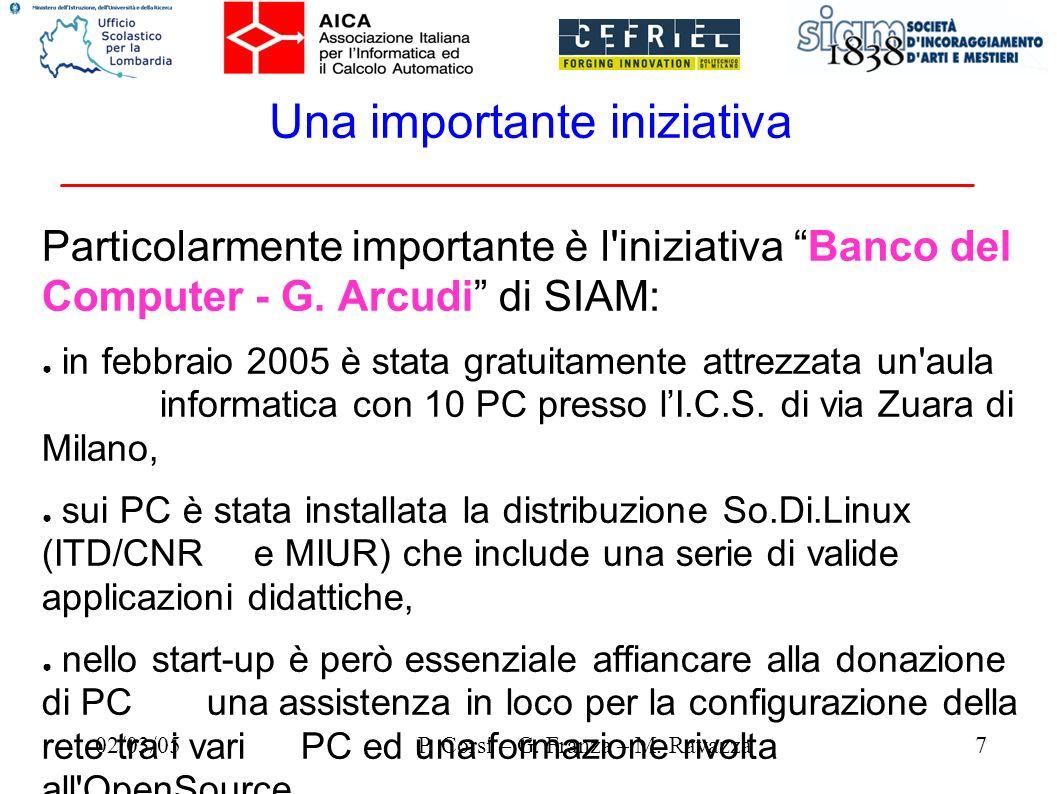 02/03/057P. Corsi – G. Franza – M. Ravazza Una importante iniziativa Particolarmente importante è l'iniziativa Banco del Computer - G. Arcudi di SIAM: