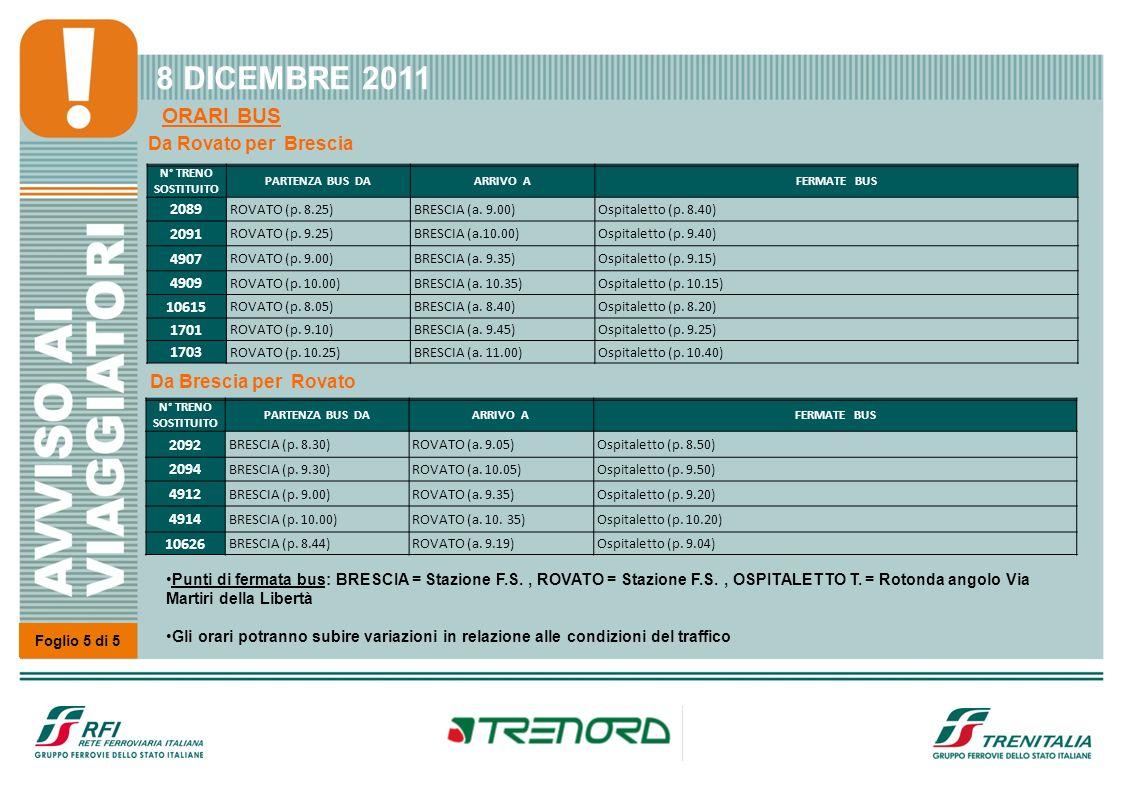 Foglio 5 di 5 8 DICEMBRE 2011 ORARI BUS N° TRENO SOSTITUITO PARTENZA BUS DAARRIVO AFERMATE BUS 2089 ROVATO (p. 8.25)BRESCIA (a. 9.00)Ospitaletto (p. 8