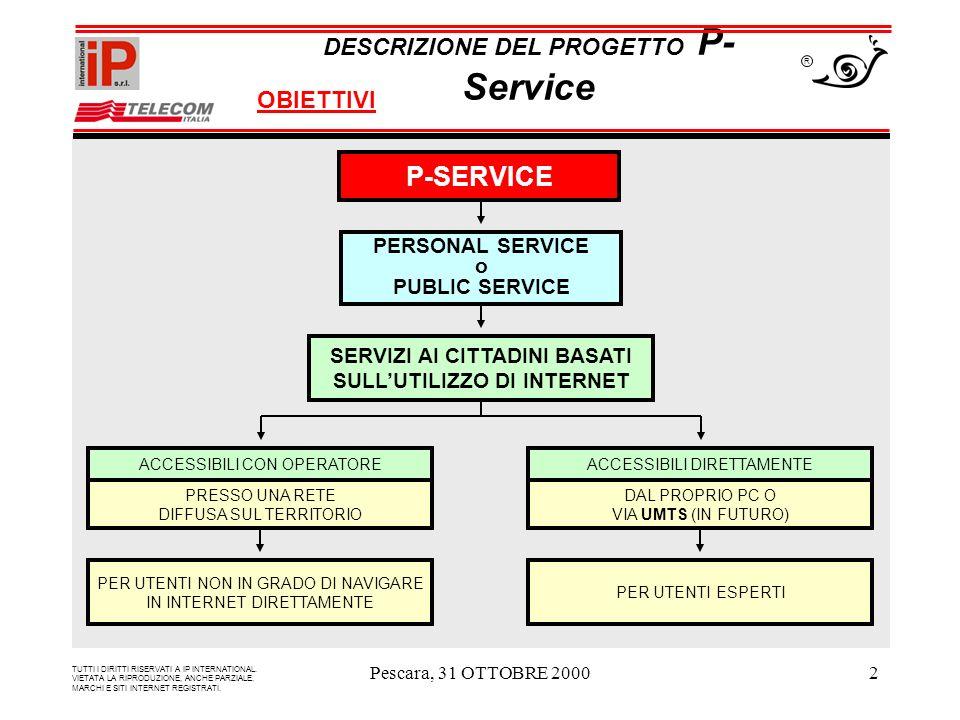 Pescara, 31 OTTOBRE 20002 P-SERVICE PERSONAL SERVICE o PUBLIC SERVICE SERVIZI AI CITTADINI BASATI SULLUTILIZZO DI INTERNET ACCESSIBILI CON OPERATORE PRESSO UNA RETE DIFFUSA SUL TERRITORIO PER UTENTI NON IN GRADO DI NAVIGARE IN INTERNET DIRETTAMENTE ACCESSIBILI DIRETTAMENTE DAL PROPRIO PC O VIA UMTS (IN FUTURO) PER UTENTI ESPERTI DESCRIZIONE DEL PROGETTO P- Service OBIETTIVI R TUTTI I DIRITTI RISERVATI A IP INTERNATIONAL.
