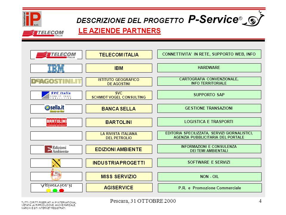 Pescara, 31 OTTOBRE 20004 TUTTI I DIRITTI RISERVATI A IP INTERNATIONAL. VIETATA LA RIPRODUZIONE, ANCHE PARZIALE. MARCHI E SITI INTERNET REGISTRATI. DE
