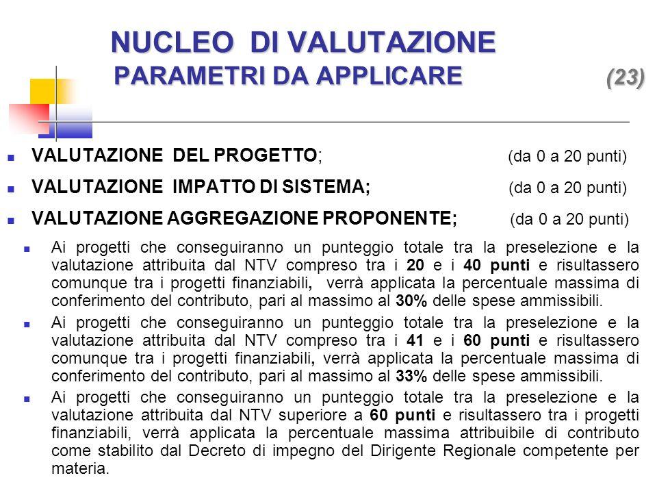 VALUTAZIONE DEL PROGETTO; (da 0 a 20 punti) VALUTAZIONE IMPATTO DI SISTEMA; (da 0 a 20 punti) VALUTAZIONE AGGREGAZIONE PROPONENTE; (da 0 a 20 punti) NUCLEO DI VALUTAZIONE PARAMETRI DA APPLICARE (23) NUCLEO DI VALUTAZIONE PARAMETRI DA APPLICARE (23) Ai progetti che conseguiranno un punteggio totale tra la preselezione e la valutazione attribuita dal NTV compreso tra i 20 e i 40 punti e risultassero comunque tra i progetti finanziabili, verrà applicata la percentuale massima di conferimento del contributo, pari al massimo al 30% delle spese ammissibili.