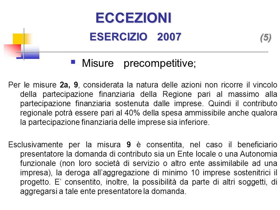 ECCEZIONI ESERCIZIO 2007 (5) ECCEZIONI ESERCIZIO 2007 (5) Per le misure 2a, 9, considerata la natura delle azioni non ricorre il vincolo della partecipazione finanziaria della Regione pari al massimo alla partecipazione finanziaria sostenuta dalle imprese.