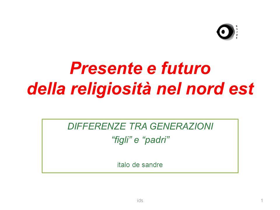 Presente e futuro della religiosità nel nord est DIFFERENZE TRA GENERAZIONI figli e padri italo de sandre 1ids
