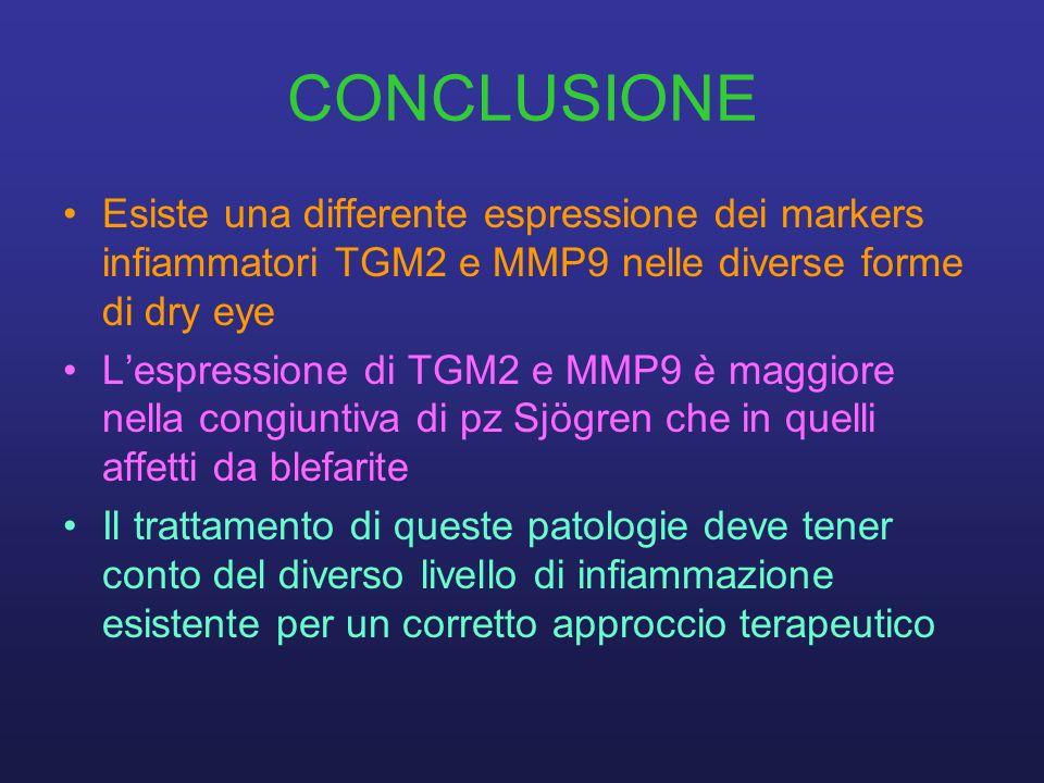 CONCLUSIONE Esiste una differente espressione dei markers infiammatori TGM2 e MMP9 nelle diverse forme di dry eye Lespressione di TGM2 e MMP9 è maggio