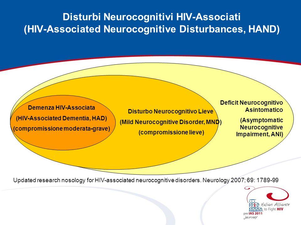 Disturbi Neurocognitivi HIV-Associati (HIV-Associated Neurocognitive Disturbances, HAND) Updated research nosology for HIV-associated neurocognitive d