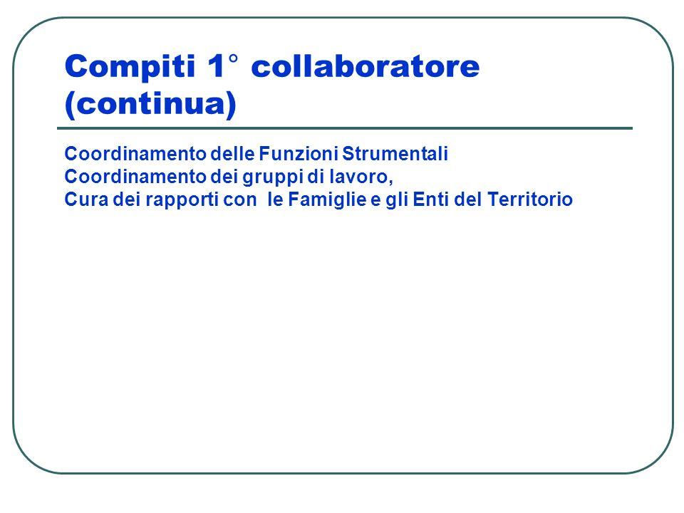 Compiti 1° collaboratore (continua) Coordinamento delle Funzioni Strumentali Coordinamento dei gruppi di lavoro, Cura dei rapporti con le Famiglie e g