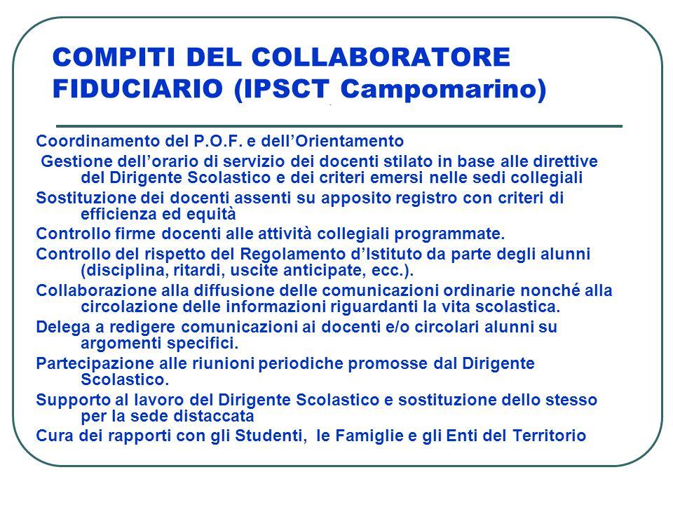 COMPITI DEL COLLABORATORE FIDUCIARIO (IPSCT Campomarino) - Coordinamento del P.O.F. e dellOrientamento Gestione dellorario di servizio dei docenti sti