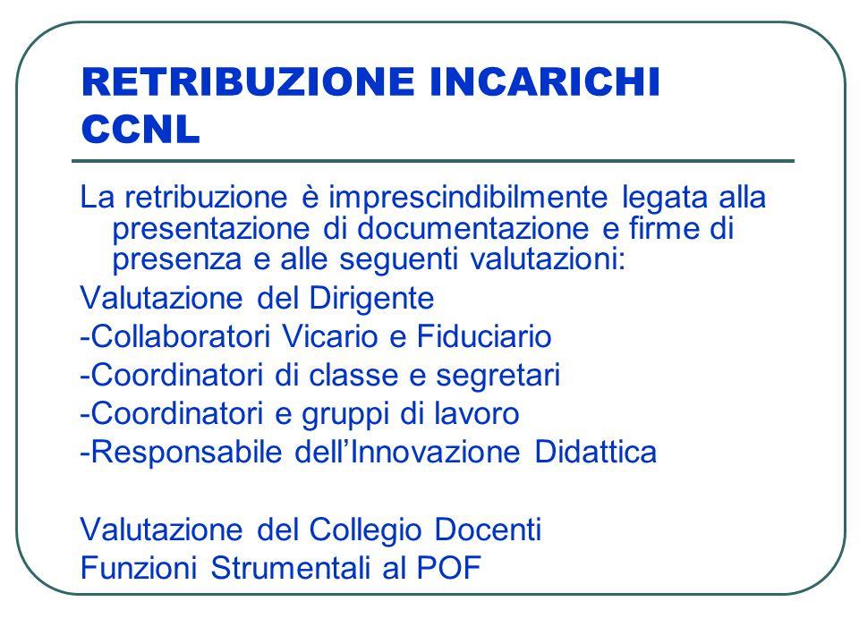 RETRIBUZIONE INCARICHI CCNL La retribuzione è imprescindibilmente legata alla presentazione di documentazione e firme di presenza e alle seguenti valu