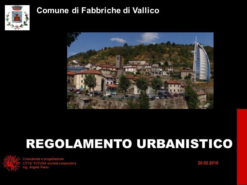 Comune di Fabbriche di Vallico REGOLAMENTO URBANISTICO Consulenza e progettazione CITTA FUTURA società cooperativa 20.02.2010 Ing.