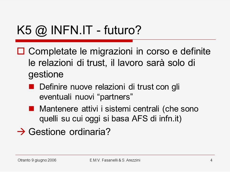 Otranto 9 giugno 2006E.M.V.Fasanelli & S. Arezzini4 K5 @ INFN.IT - futuro.