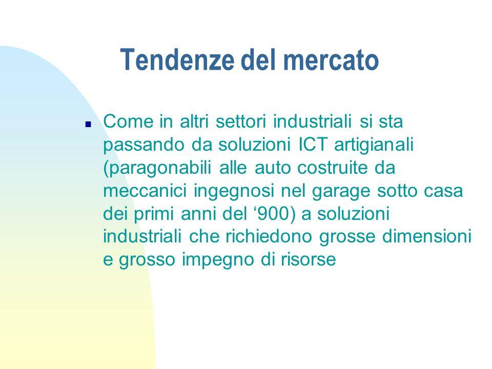 Tendenze del mercato n Come in altri settori industriali si sta passando da soluzioni ICT artigianali (paragonabili alle auto costruite da meccanici i