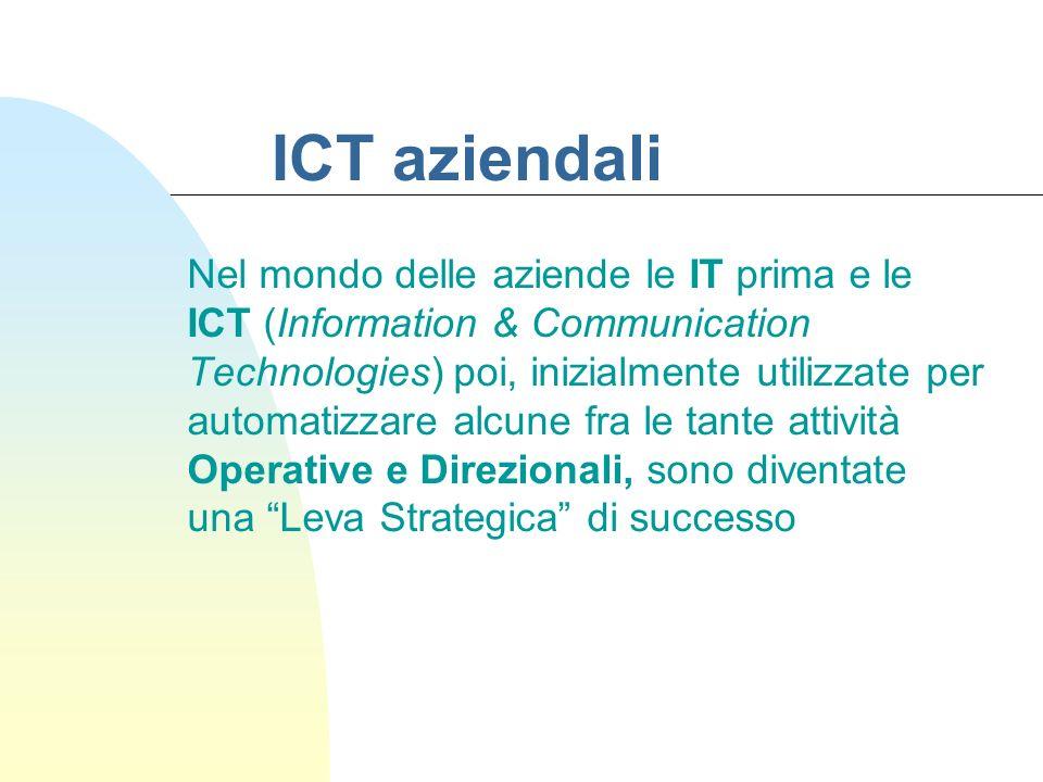 ICT aziendali Nel mondo delle aziende le IT prima e le ICT (Information & Communication Technologies) poi, inizialmente utilizzate per automatizzare a