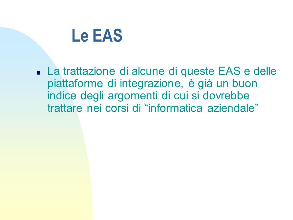 Le EAS n La trattazione di alcune di queste EAS e delle piattaforme di integrazione, è già un buon indice degli argomenti di cui si dovrebbe trattare