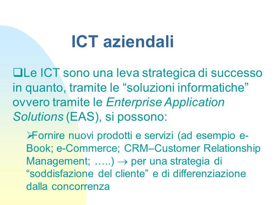 Le ICT sono una leva strategica di successo in quanto, tramite le soluzioni informatiche ovvero tramite le Enterprise Application Solutions (EAS), si