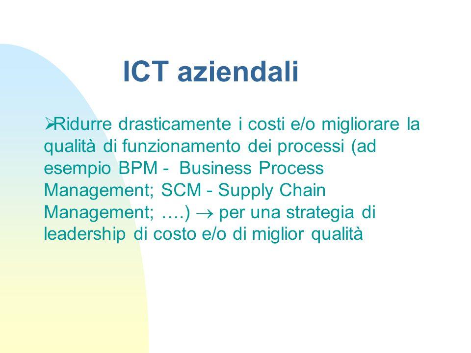 Ridurre drasticamente i costi e/o migliorare la qualità di funzionamento dei processi (ad esempio BPM - Business Process Management; SCM - Supply Chai