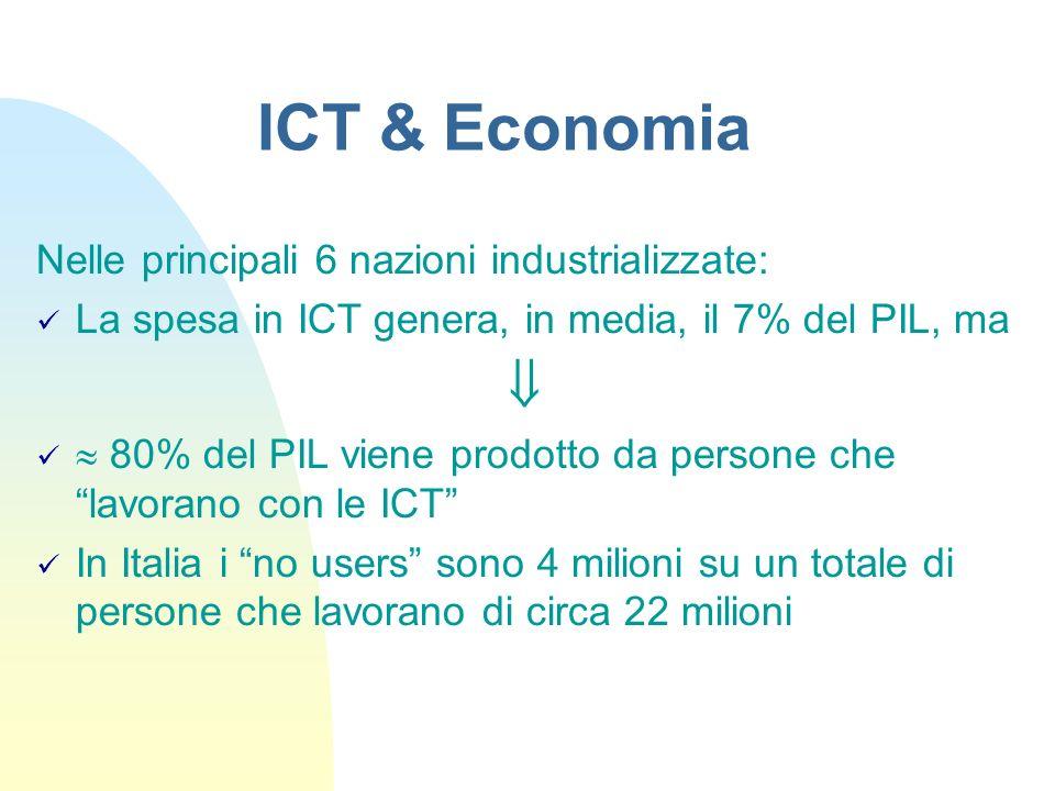 Nelle principali 6 nazioni industrializzate: La spesa in ICT genera, in media, il 7% del PIL, ma 80% del PIL viene prodotto da persone che lavorano co