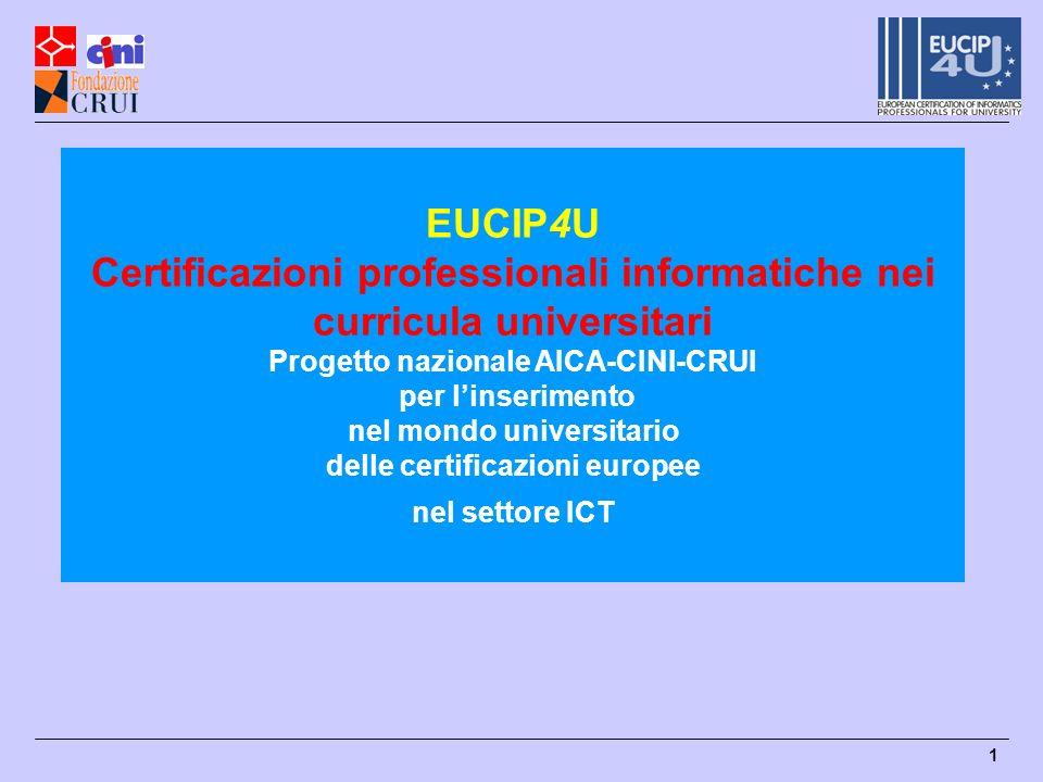 1 EUCIP4U Certificazioni professionali informatiche nei curricula universitari Progetto nazionale AICA-CINI-CRUI per linserimento nel mondo universitario delle certificazioni europee nel settore ICT