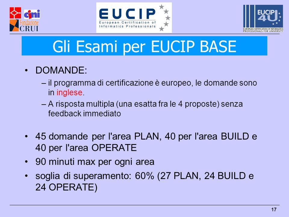 17 DOMANDE: –il programma di certificazione è europeo, le domande sono in inglese.