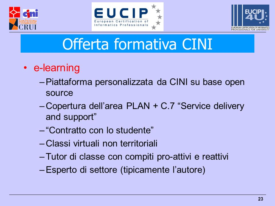 23 e-learning –Piattaforma personalizzata da CINI su base open source –Copertura dellarea PLAN + C.7 Service delivery and support –Contratto con lo st