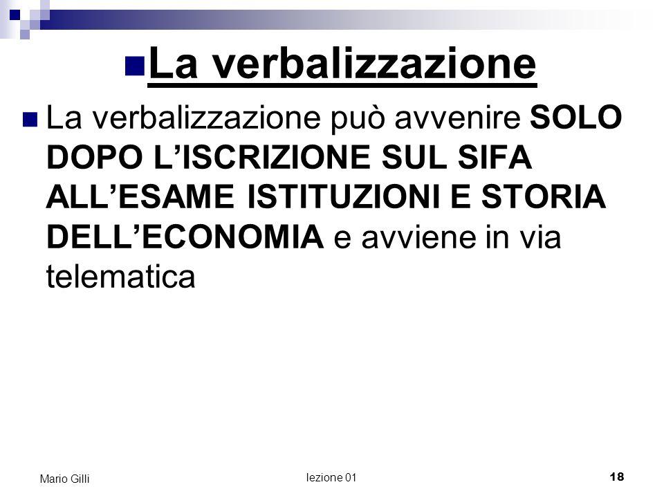 INTRODUZIONE ALLA MICROECONOMIA Mario Gilli 19 lezione 01