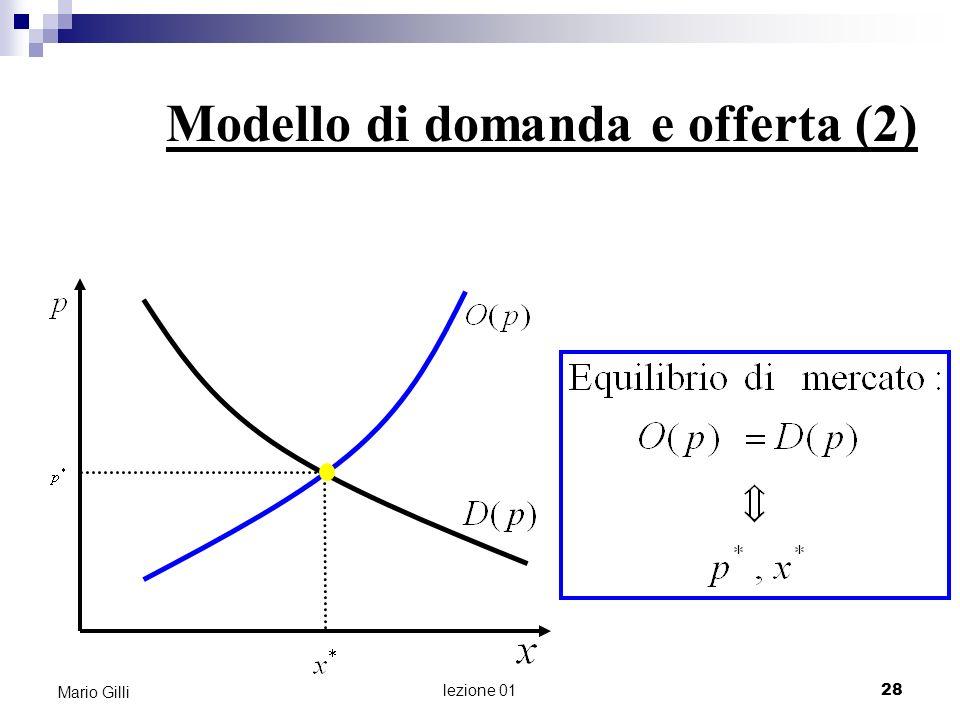 Perché il modello di domanda e offerta è così importante in economia? Mario Gilli 29 lezione 01