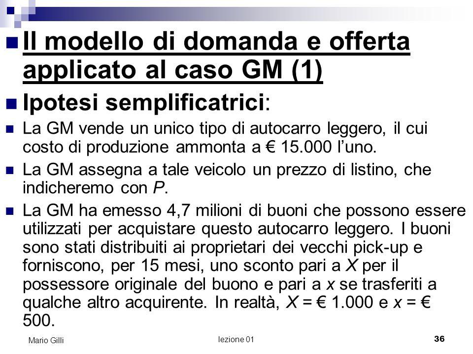 lezione 01 37 Mario Gilli Il modello di domanda e offerta applicato al caso GM (2) Viene creato un mercato per questi buoni, ove i possessori originali possono venderli a terzi che vogliono acquistare un autocarro leggero GM.