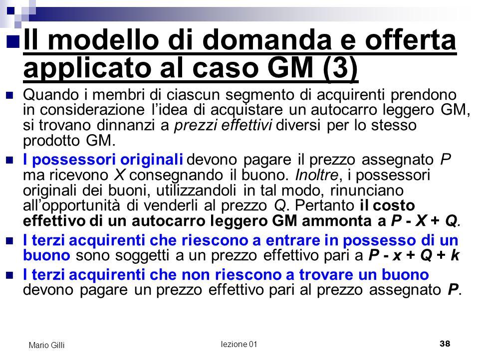 lezione 01 39 Mario Gilli Il modello di domanda e offerta applicato al caso GM (4) Avendo ipotizzato che si creerà un mercato dei buoni e che emergerà un prezzo Q per cui lofferta di buoni sarà prossima alla domanda, possiamo invocare il modello di domanda e offerta per prevedere quale sarà il valore di Q.