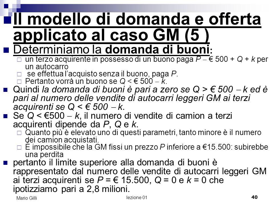lezione 01 41 Mario Gilli Q y Q=500-k Determiniamo la domanda di buoni: 2,8 mil
