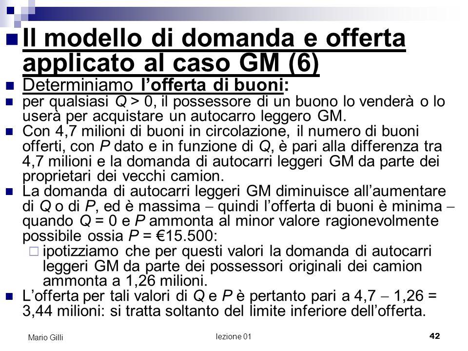 lezione 01 43 Mario Gilli Q y Determiniamo lofferta di buoni: 3,44 mil