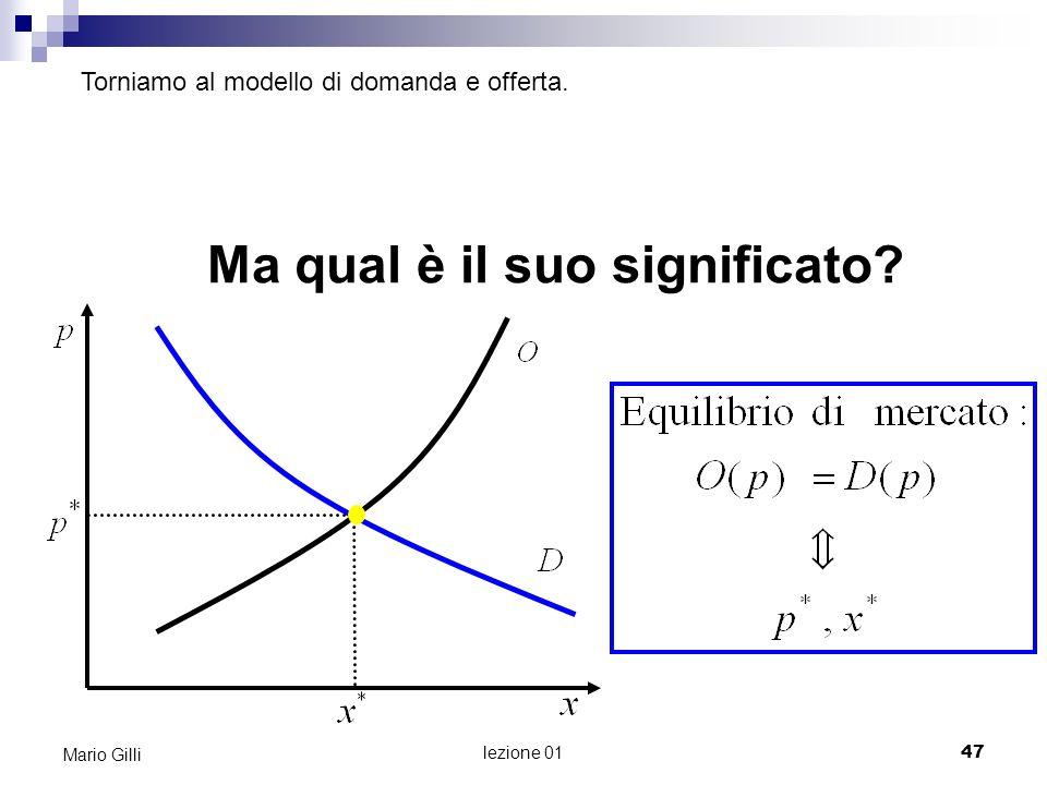 lezione 01 48 Mario Gilli Il modello di domanda e offerta La funzione di domanda è una funzione che indica, per ogni possibile prezzo del bene, la quantità totale che gli acquirenti del bene sceglierebbero di acquistare.