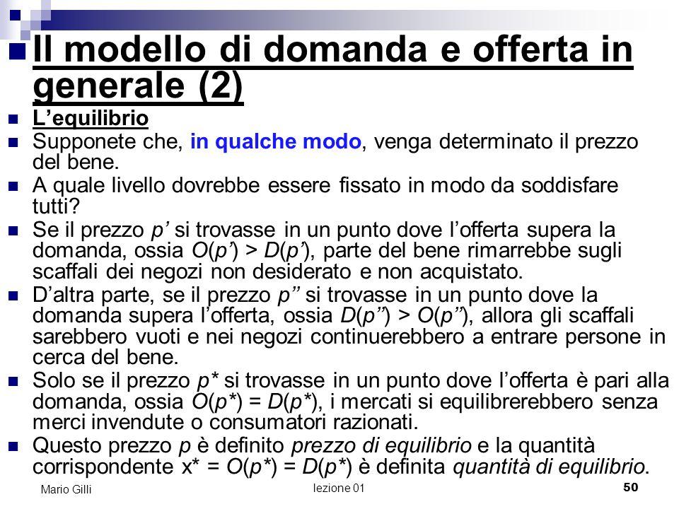 lezione 01 51 Mario Gilli Eccesso offerta Eccesso domanda