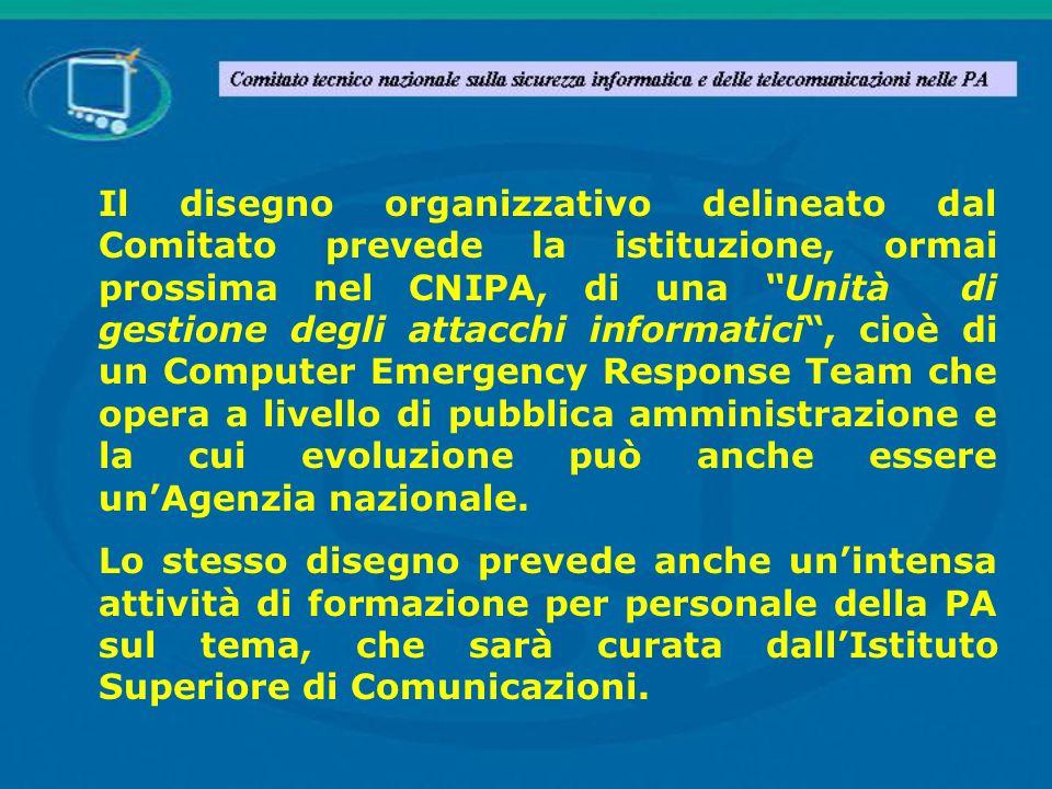 Il disegno organizzativo delineato dal Comitato prevede la istituzione, ormai prossima nel CNIPA, di una Unità di gestione degli attacchi informatici,