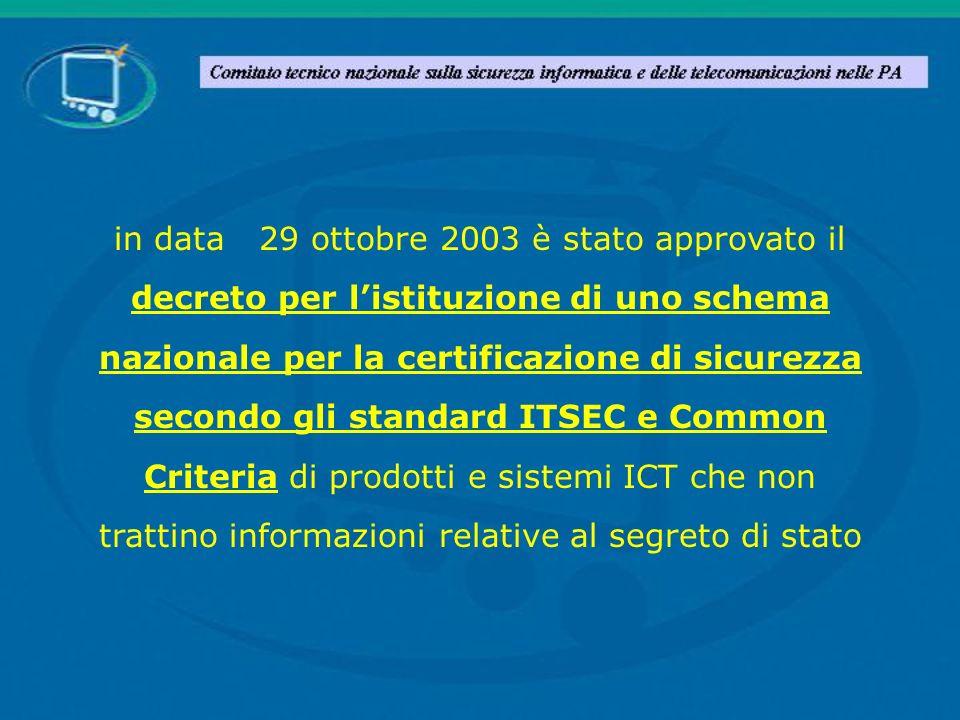 in data 29 ottobre 2003 è stato approvato il decreto per listituzione di uno schema nazionale per la certificazione di sicurezza secondo gli standard