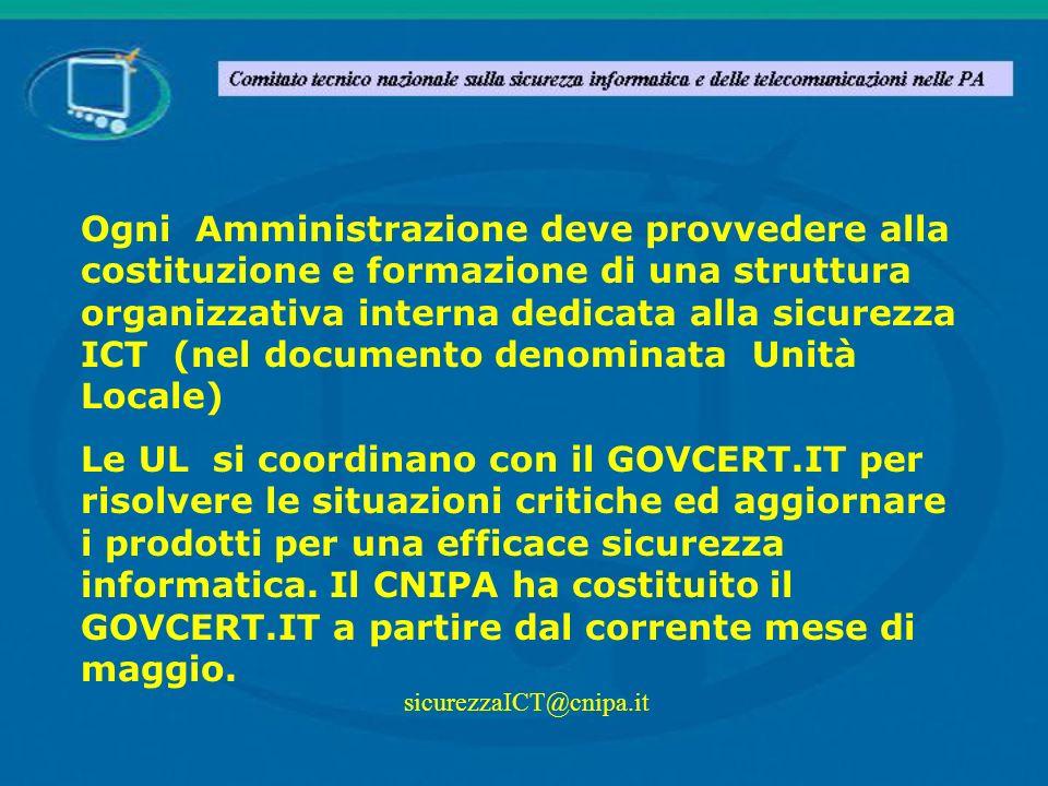 Ogni Amministrazione deve provvedere alla costituzione e formazione di una struttura organizzativa interna dedicata alla sicurezza ICT (nel documento