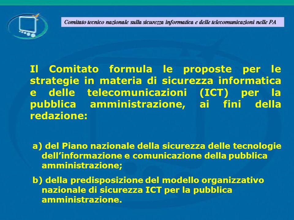 Dopo unintensa attività di ricognizione dello stato della sicurezza ICT nella PA, il Comitato ha prodotto un primo documento, Proposte concernenti le strategie in materia di sicurezza informatica e delle telecomunicazioni (ICT) per la Pubblica Amministrazione.