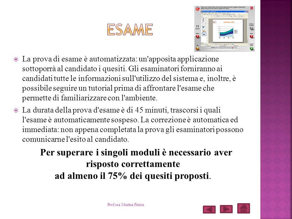La prova di esame è automatizzata: un'apposita applicazione sottoporrà al candidato i quesiti. Gli esaminatori forniranno ai candidati tutte le inform