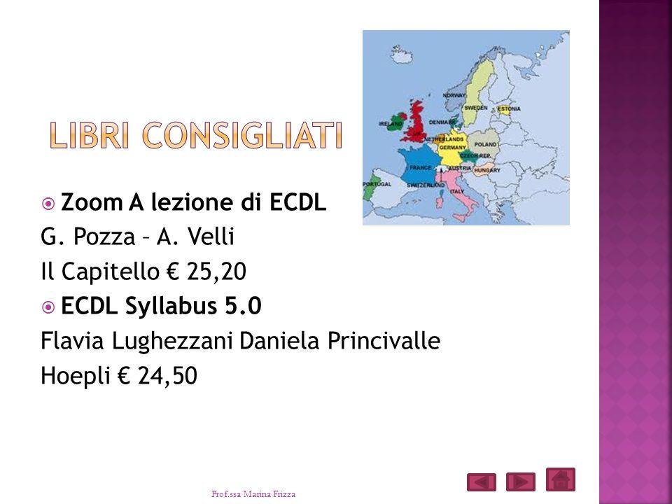 Zoom A lezione di ECDL G. Pozza – A. Velli Il Capitello 25,20 ECDL Syllabus 5.0 Flavia Lughezzani Daniela Princivalle Hoepli 24,50 Prof.ssa Marina Fri